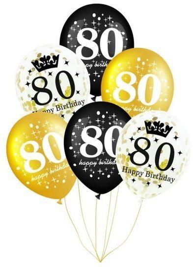 Balony na 80 urodziny 6 sztuk 400158