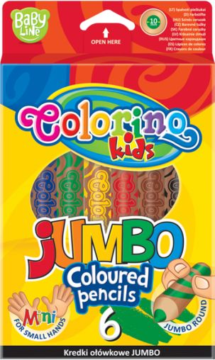 Kredki ołówkowe Jumbo 6 kolorów Colorino 33121PTR