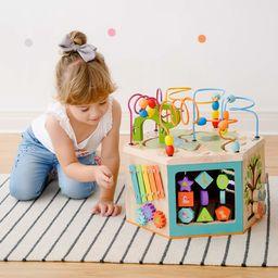 Teamson Kids PS-T0005 przedszkolak 7 w 1 duża drewniana kostka aktywności, wielofunkcyjna zabawka edukacyjna, labirynt koralikowy labirynt, sorter kształtu kolorów