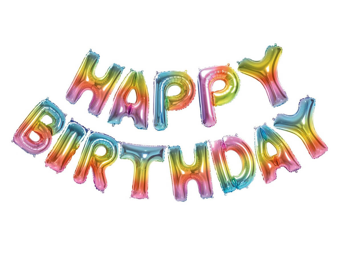 Balon foliowy ombre Happy Birthday - tęczowy
