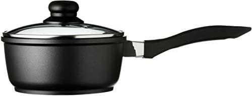 Premier Housewares Tenzo aluminiowy garnek z trzonkiem z powłoką teflonową, 18 cm, czarny, 19 x 39 x 14