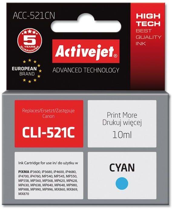 Tusz Activejet ACC-521CN (zamiennik Canon CLI-521C; Supreme; 10 ml; niebieski)