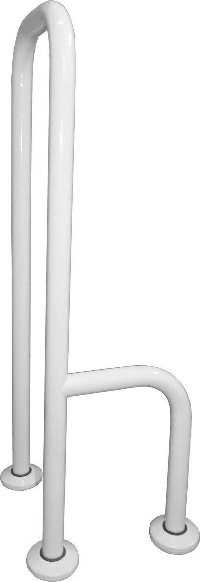 Uchwyt dla niepełnosprawnych 3-podporowy podłogowy lewy fi 32 Faneco stal biała