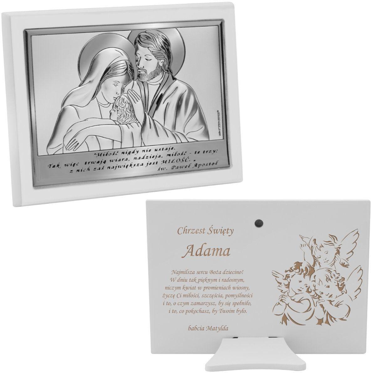 Srebrny obrazek na chrzest ze Świętą Rodziną z Grawerem