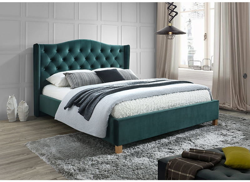 Łóżko ASPEN velvet 160x200 zielone