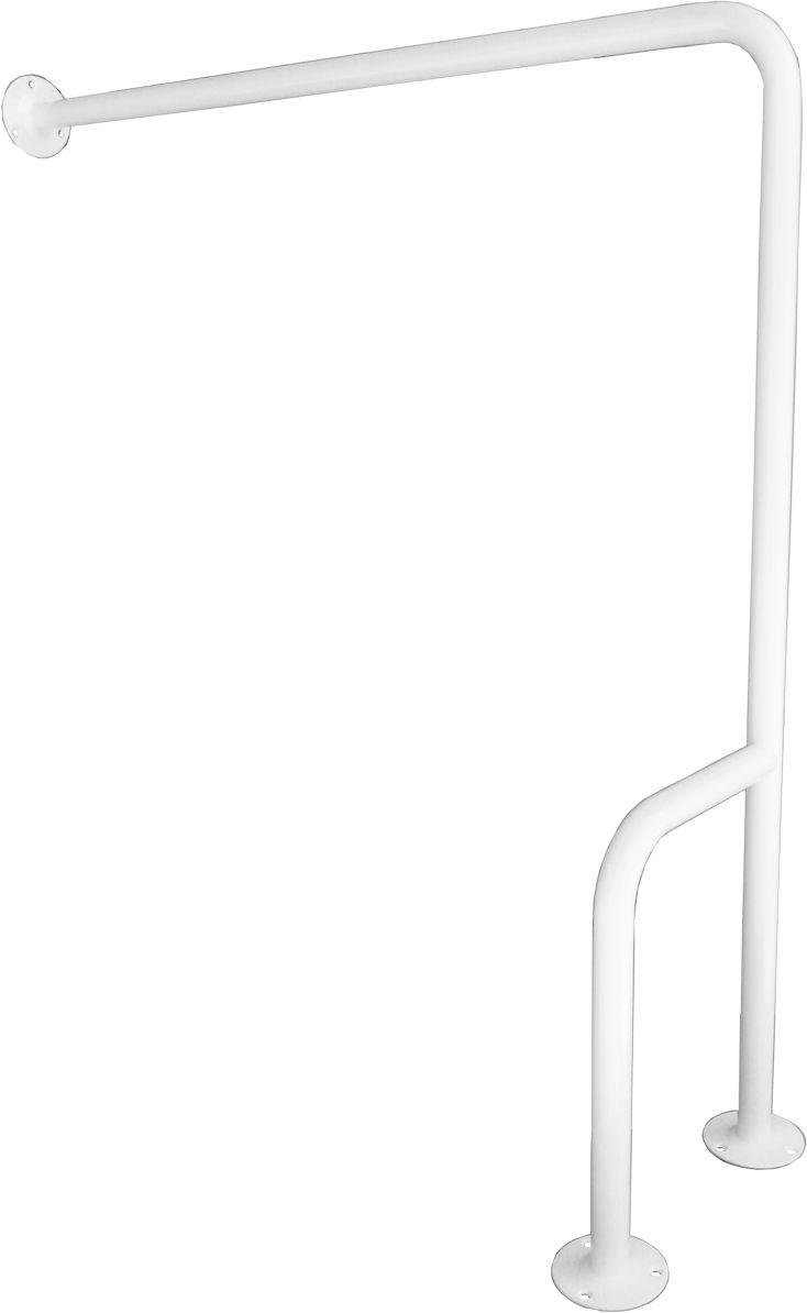 Uchwyt dla niepełnosprawnych mocowany do podłogi i ściany prawy fi 32 80 cm Faneco stal biała