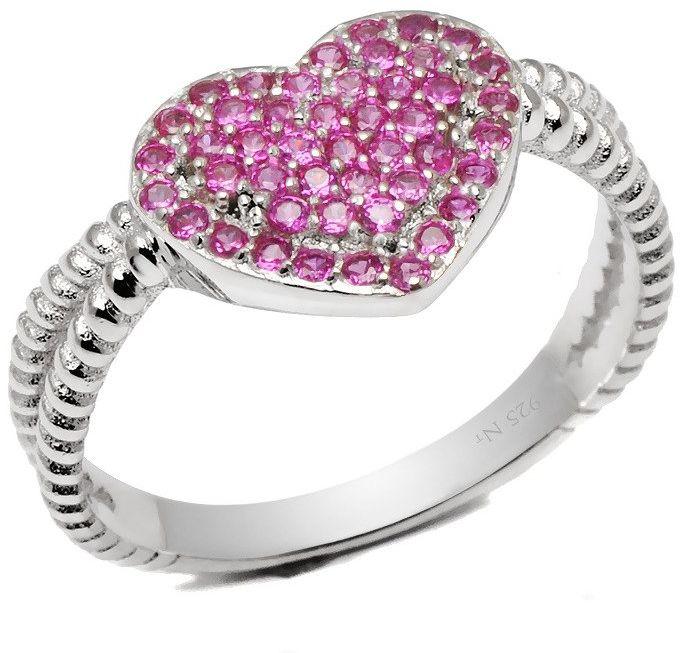 Srebrny Pierścionek Serce Rubinowe Kamienie