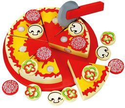 Bino nóż do pizzy, zabawka dla dzieci od 3 lat, zabawka dla dzieci (drewniana zabawka z 6 kawałkami pizzy, różne talerze do pizzy, deska do krojenia i nóż do pizzy, 31-częściowa), wielokolorowa