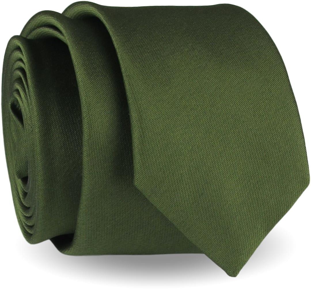 Krawat Męski Elegancki Modny Śledź wąski gładki zgniła zieleń khaki zieleń butelkowa G296