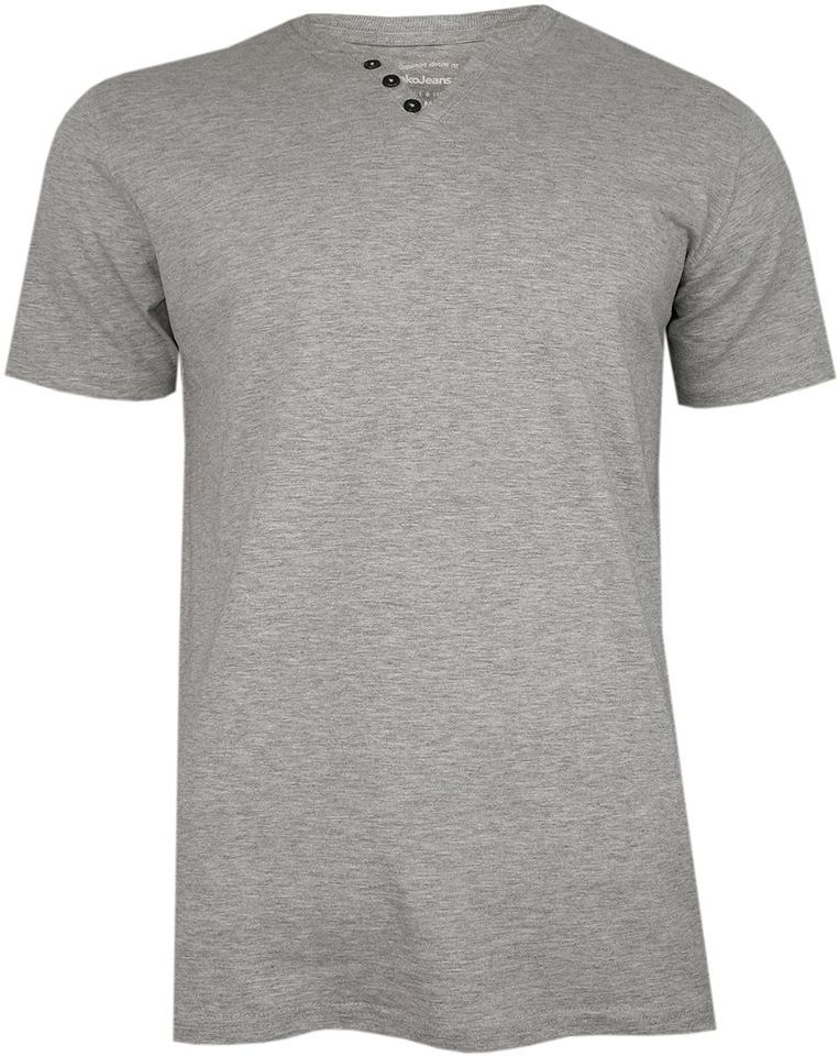Szary Bawełniany T-Shirt -PAKO JEANS- Męski, Krótki Rękaw, Dekolt w Serek z Guzikami, BASIC TSPJNSmPOPIELguzik
