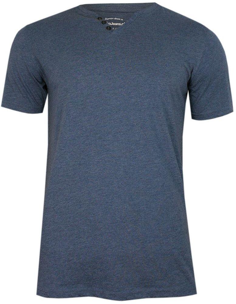 Niebieski Bawełniany T-Shirt -PAKO JEANS- Męski, Krótki Rękaw, Dekolt w Serek z Guzikami, BASIC TSPJNSmNIEBIESKIguzik