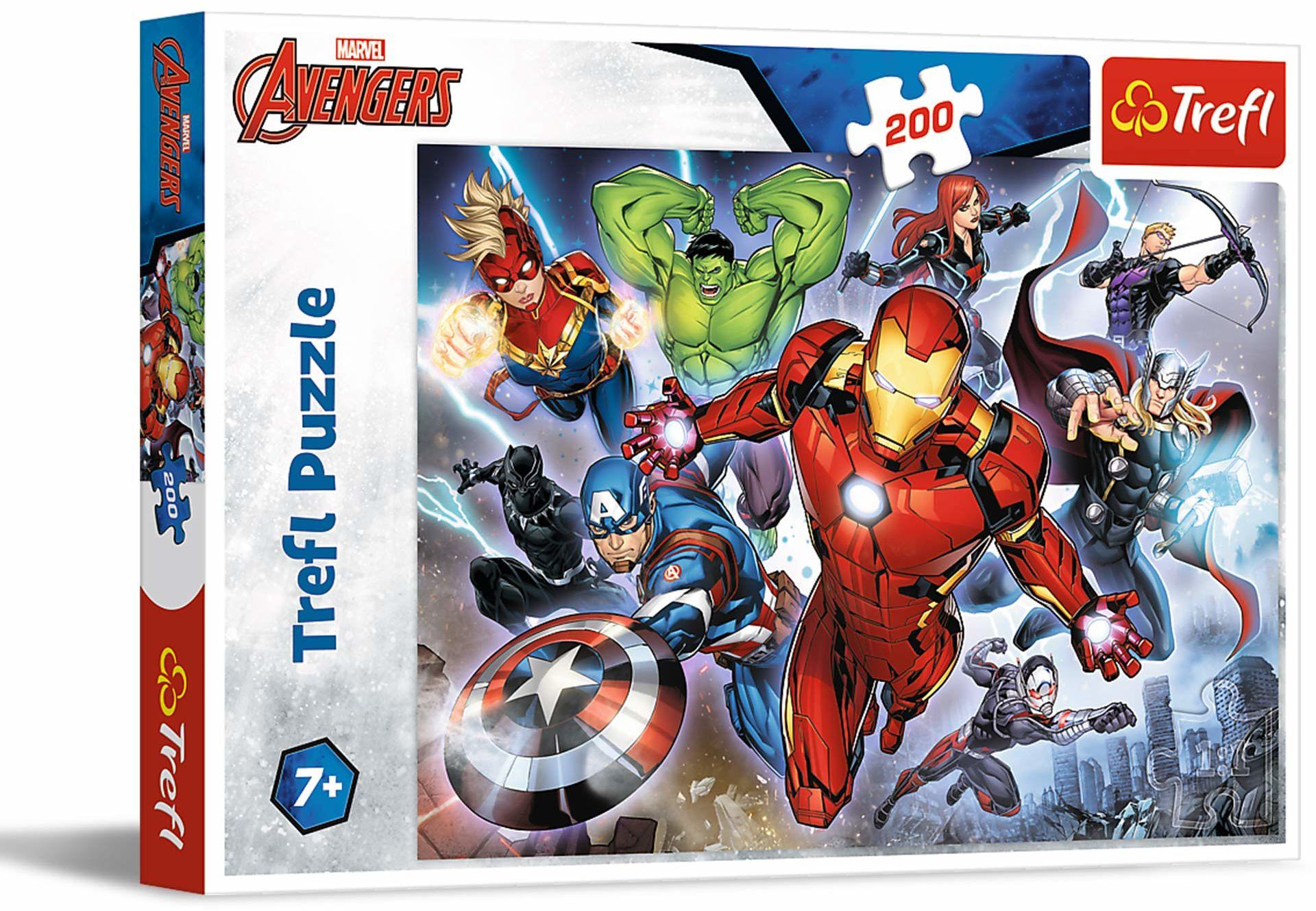 Trefl Waleczni Avengersi Puzzle 200 Elementów Marvel o Wysokiej Jakości Nadruku dla Dzieci od 7 lat