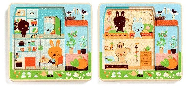 Chatka króliczków - układanka drewniana, DJ01480-Djeco - układanki dla dzieci
