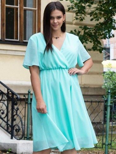 Sukienka na komunie szyfonowa DENISA odcinana kopertowa miętowa