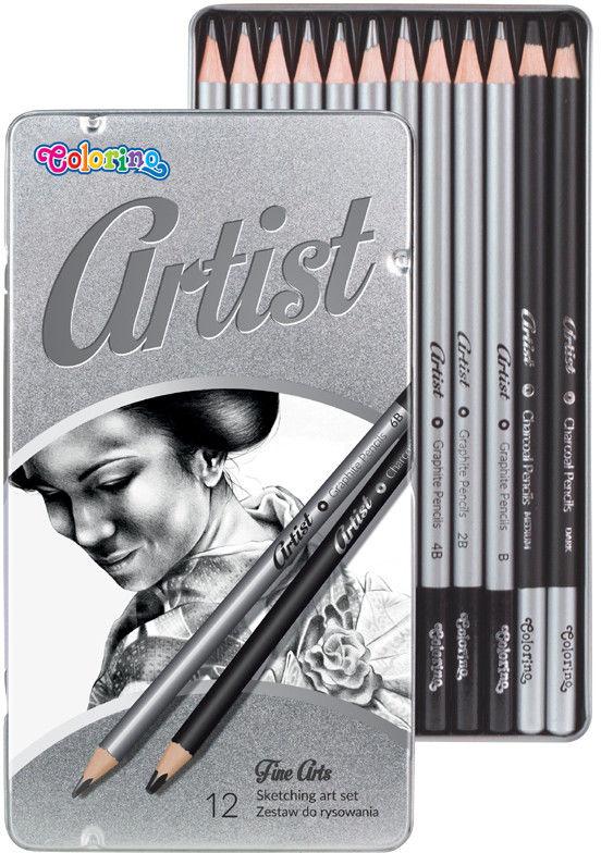 Colorino - Zestaw do rysowania ARTIST 12 ołówków grafitowych w metalowym pudełku 80118