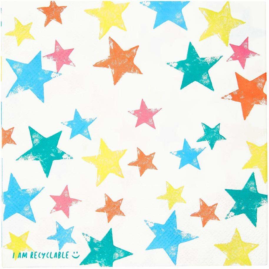 Opakowanie 20 kolorowych serwetek Star Serwetki papierowe, jednorazowa zastawa stołowa, nadające się do recyklingu w domu, ekologiczne Urodziny zastawa stołowa, decoupage, piknik
