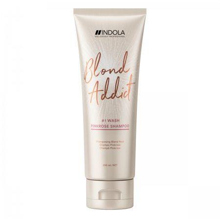 Indola Blond Addict Pink Rose szampon koloryzujący, truskawkowa płukanka 250ml