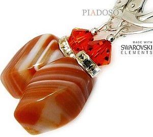 KARNEOL Kryształy piękne kolczyki SREBRO