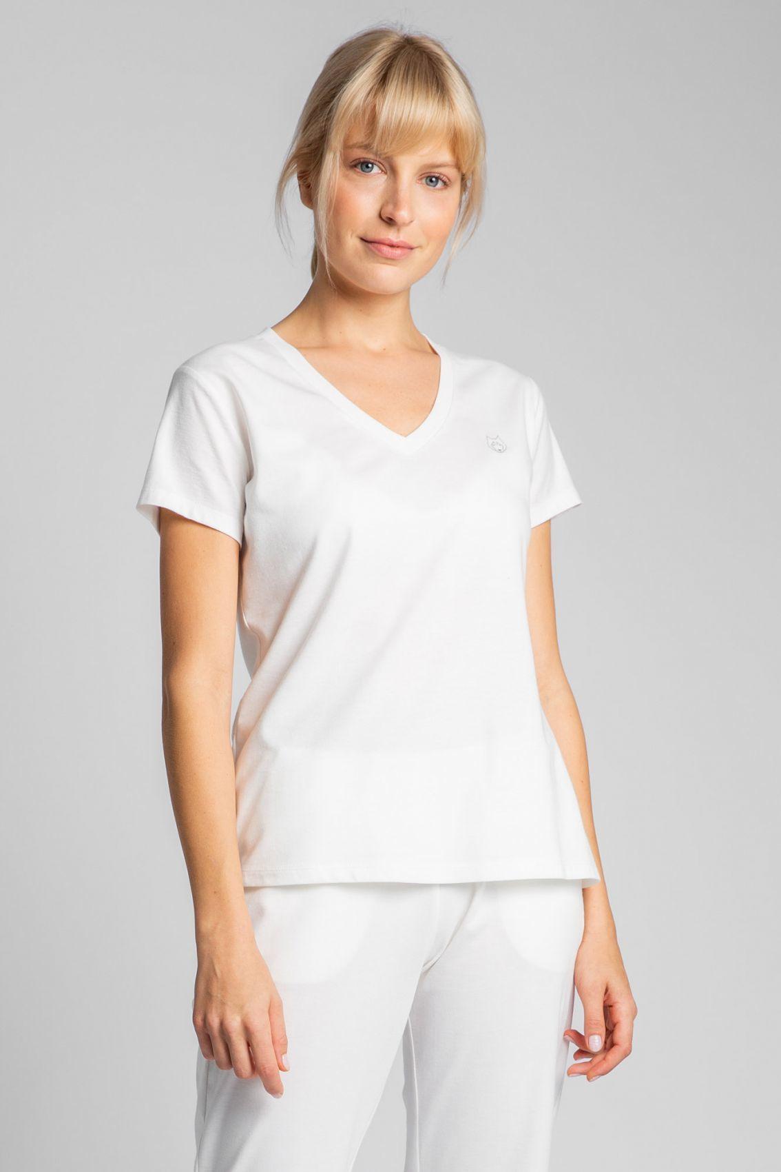 LA014 T-shirt do spania z dekoltem w serek - ecru