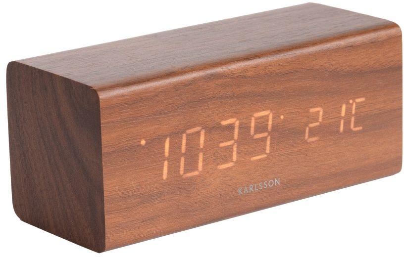 Karlsson 5652DW Stylowy zegar stołowy LED z budzikiem, 16 x 7 cm