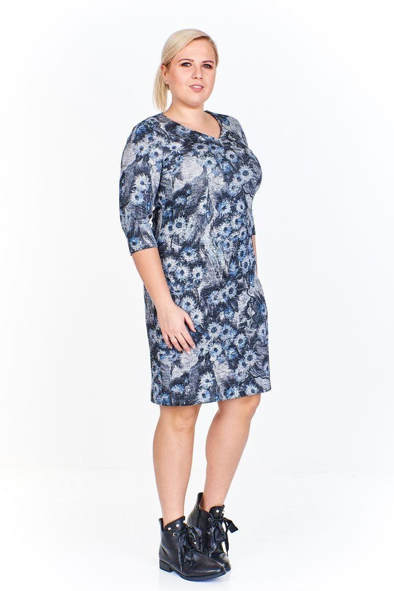 Sukienki Sukienka Sukienie FSU893 GRAFITOWY niebieskie kwiaty