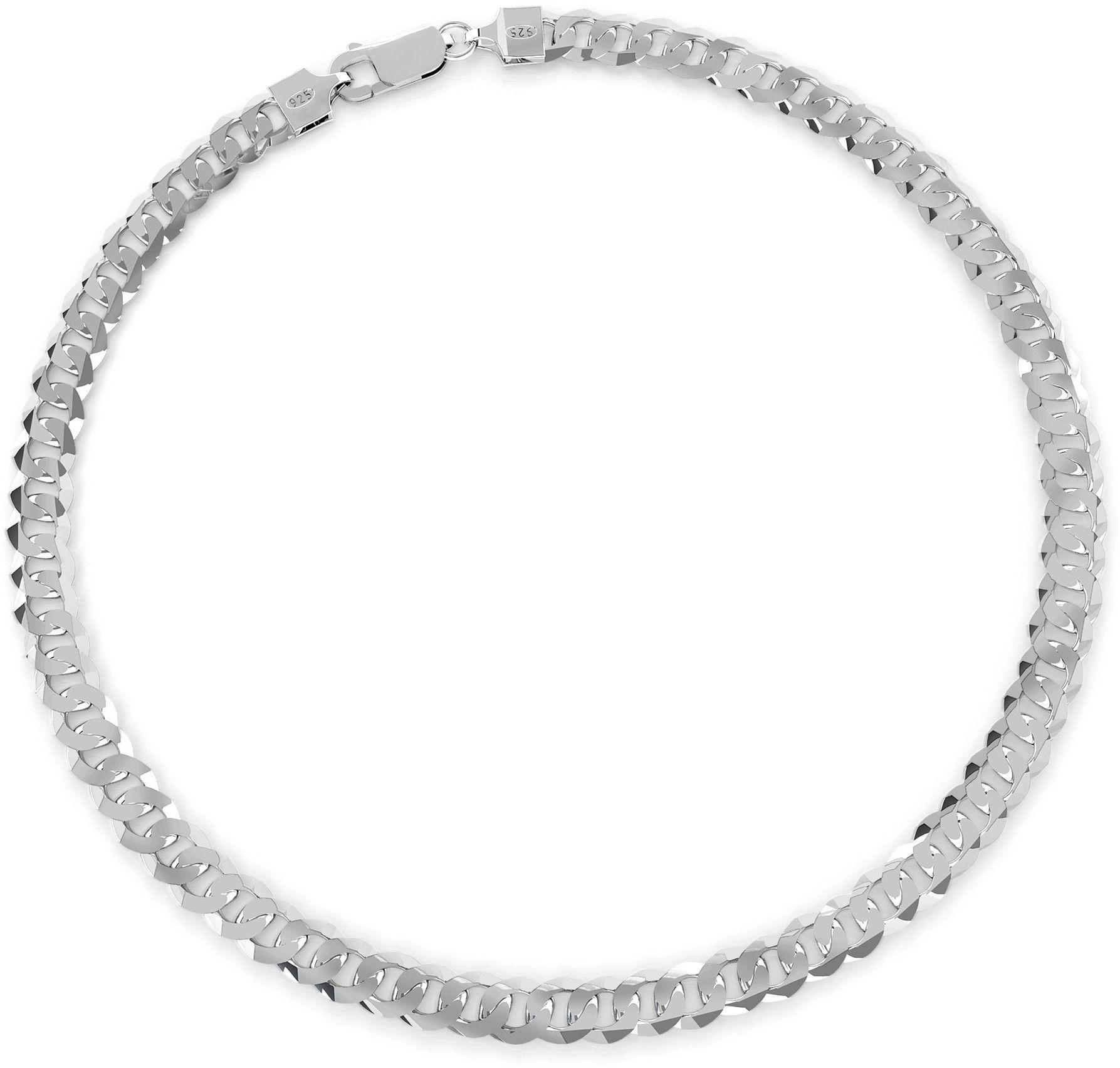 Gruba męska pancerka, grubość 7,4 mm, srebro 925 : Długość (cm) - 50, Kolor pokrycia srebra - Pokrycie platyną