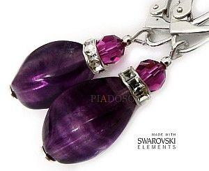 FLUORYT Kryształy piękne kolczyki SREBRO
