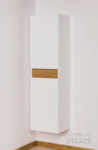 Regał łazienkowy biały/dąb 40x144cm, Styl Loftowy, Dwudrzwiowy, Cassini Gante