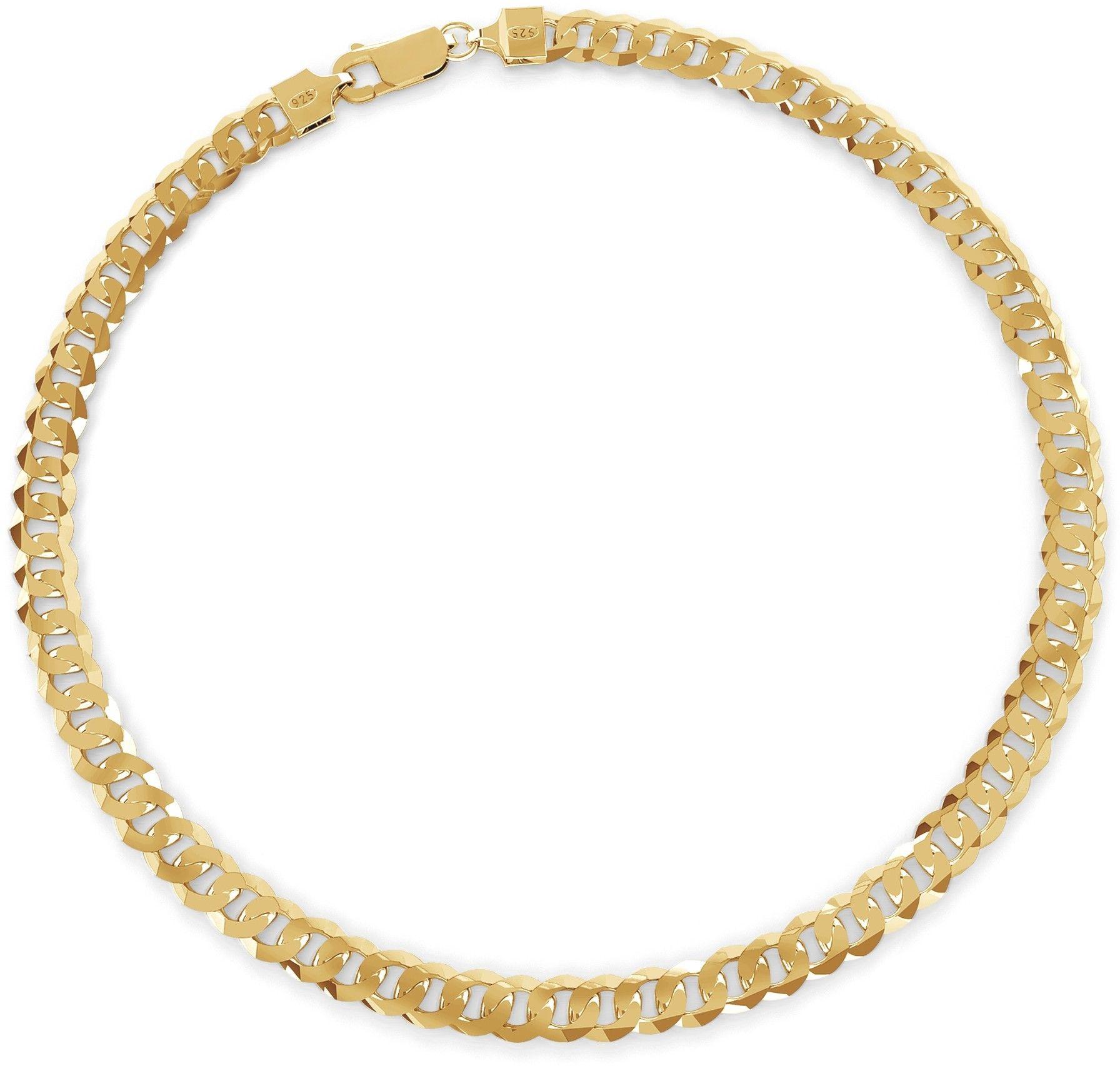Gruba męska pancerka, grubość 7,4 mm, srebro 925 : Długość (cm) - 50, Kolor pokrycia srebra - Pokrycie żółtym 18K złotem
