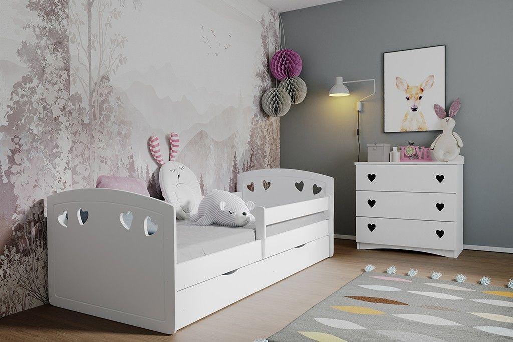 Łóżko dziecięce JULIA białe z barierką i stelażem  KUP TERAZ - OTRZYMAJ RABAT