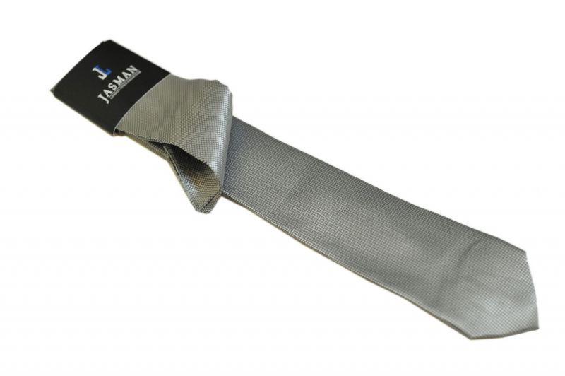 Wąski modny krawat kolor POPIELATO-SREBRNY + poszetka