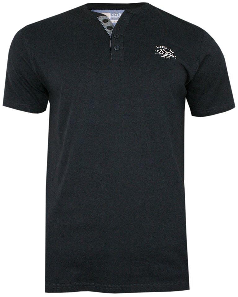 Granatowy Bawełniany T-Shirt -PAKO JEANS- Męski, Krótki Rękaw, Dekolt w Serek z Guzikami TSPJNSCOSMOgr