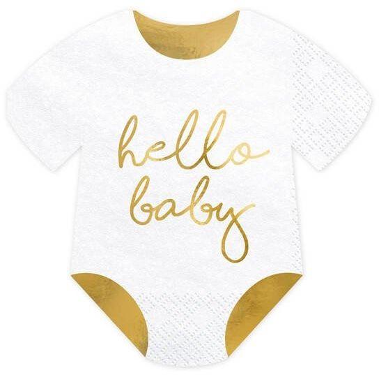 Serwetki śpioszki - hello baby, białe, 16x16 cm, 1 op./20 szt.