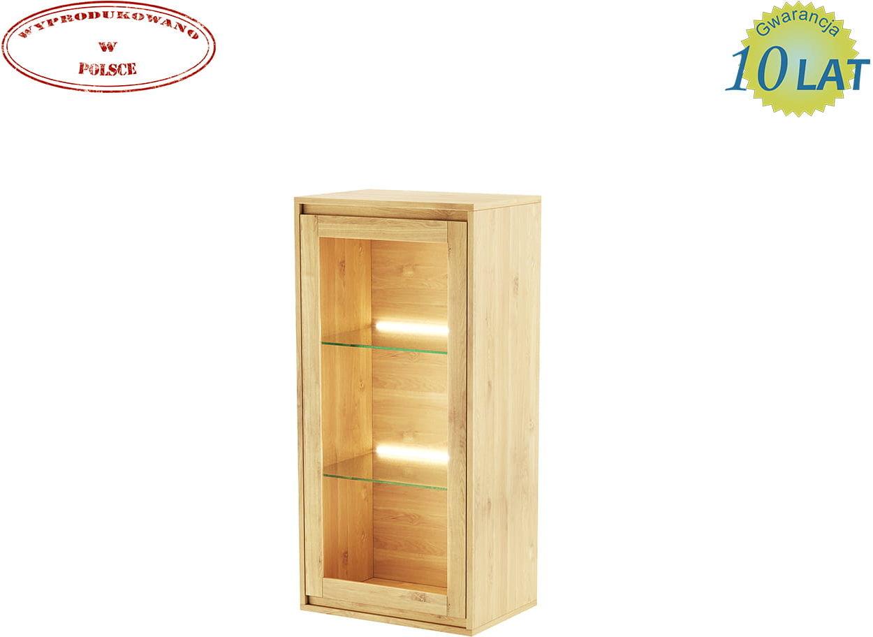 Nowoczesna witryna wisząca dębowa CASARANO 1W oświetlenie LED