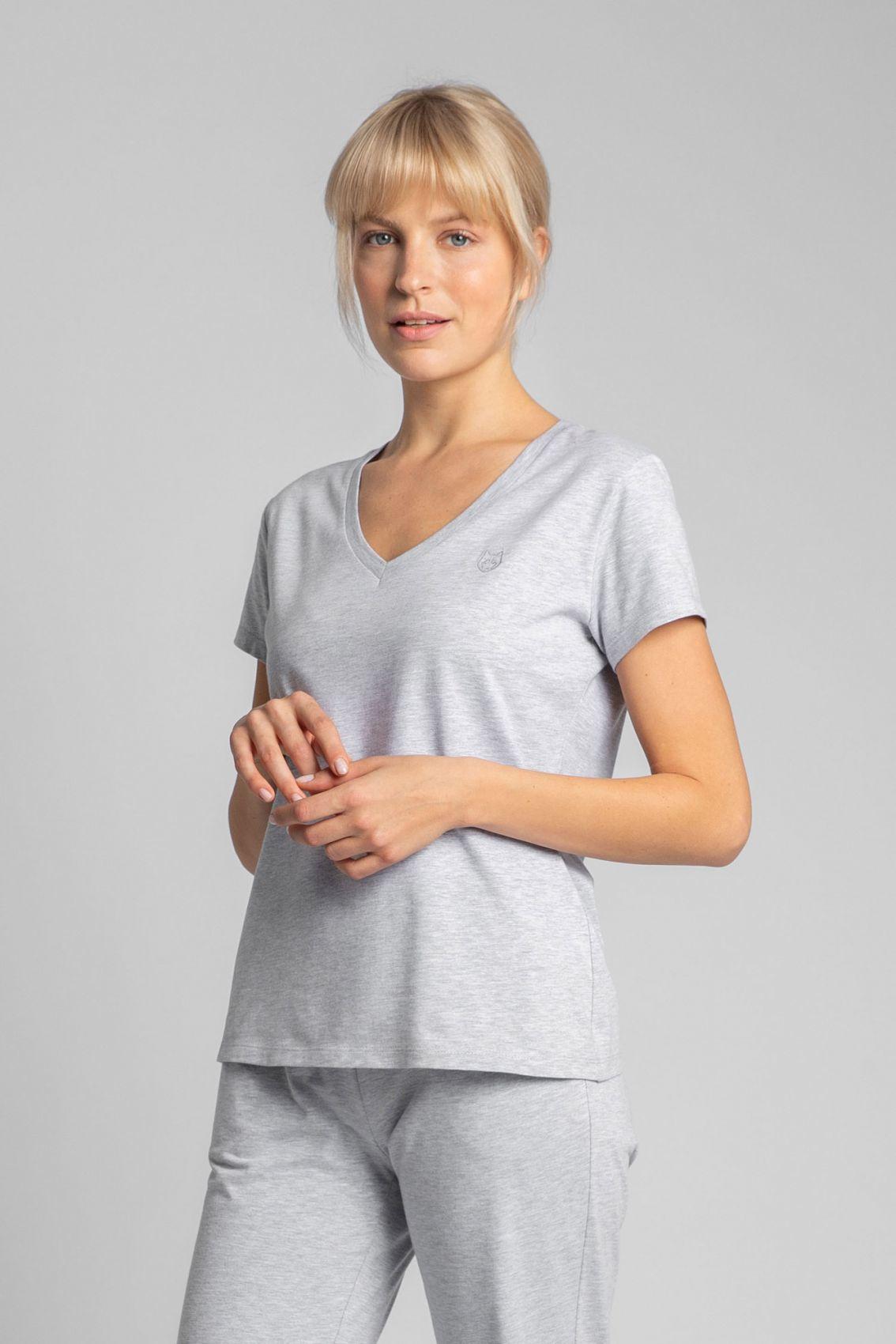 LA014 T-shirt do spania z dekoltem w serek - popielaty