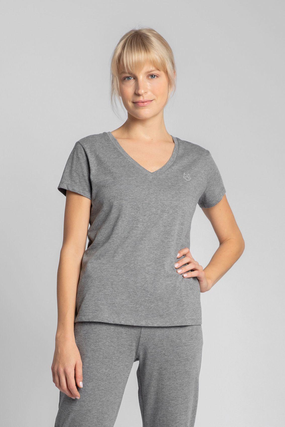 LA014 T-shirt do spania z dekoltem w serek - szary
