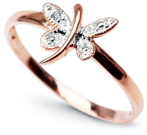 Staviori pierścionek. 1 diament, szlif achtkant, masa 0,005 ct., barwa h, czystość i1. białe, różowe złoto 0,585. średnica korony ok. 8x9 mm. szerokość obrączki ok. 1,5 mm.