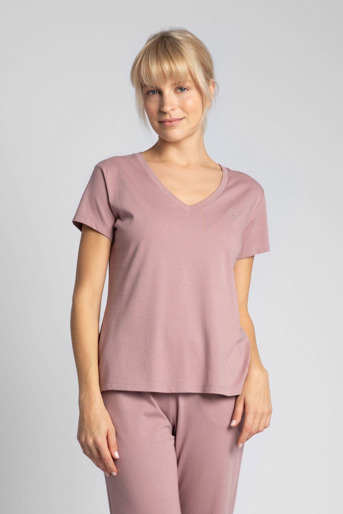 LA014 T-shirt do spania z dekoltem w serek - wrzosowy