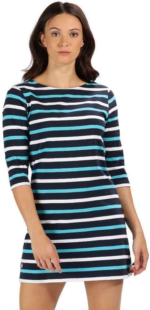 Regatta damska sukienka Harlee Coolweave bawełniana koszulka w paski rękaw 3/4 Granatowe paski 8