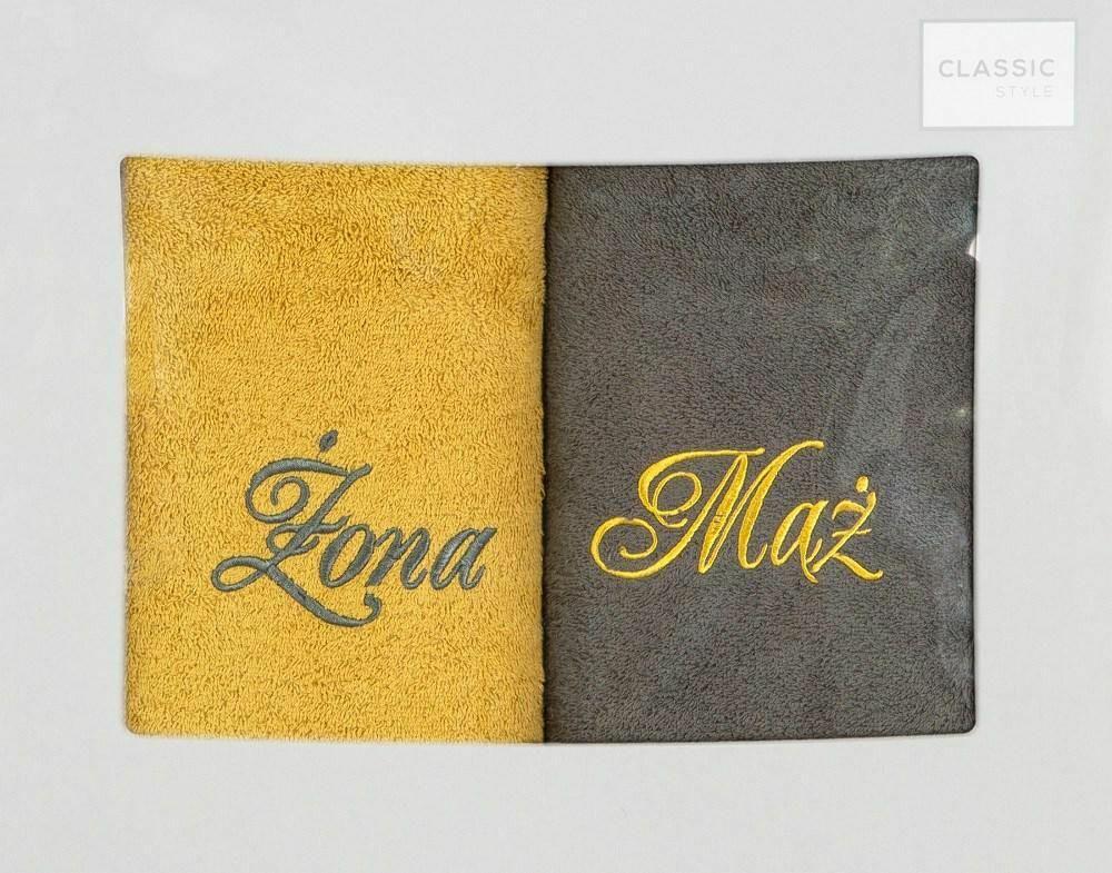 Komplet ręczników w pudełku 2 szt 50x90 Mąż Żona stalowy musztardowy Eurofirany