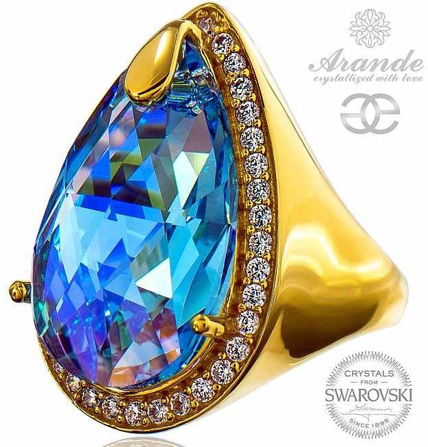 Kryształy SPECIAL PIERŚCIONEK AQUA ENCANTE ZŁOTE SREBRO