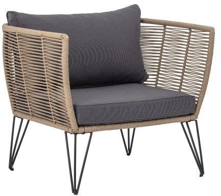 Elegancki fotel ogrodowy brązowy antracytowa poduszka Mundo
