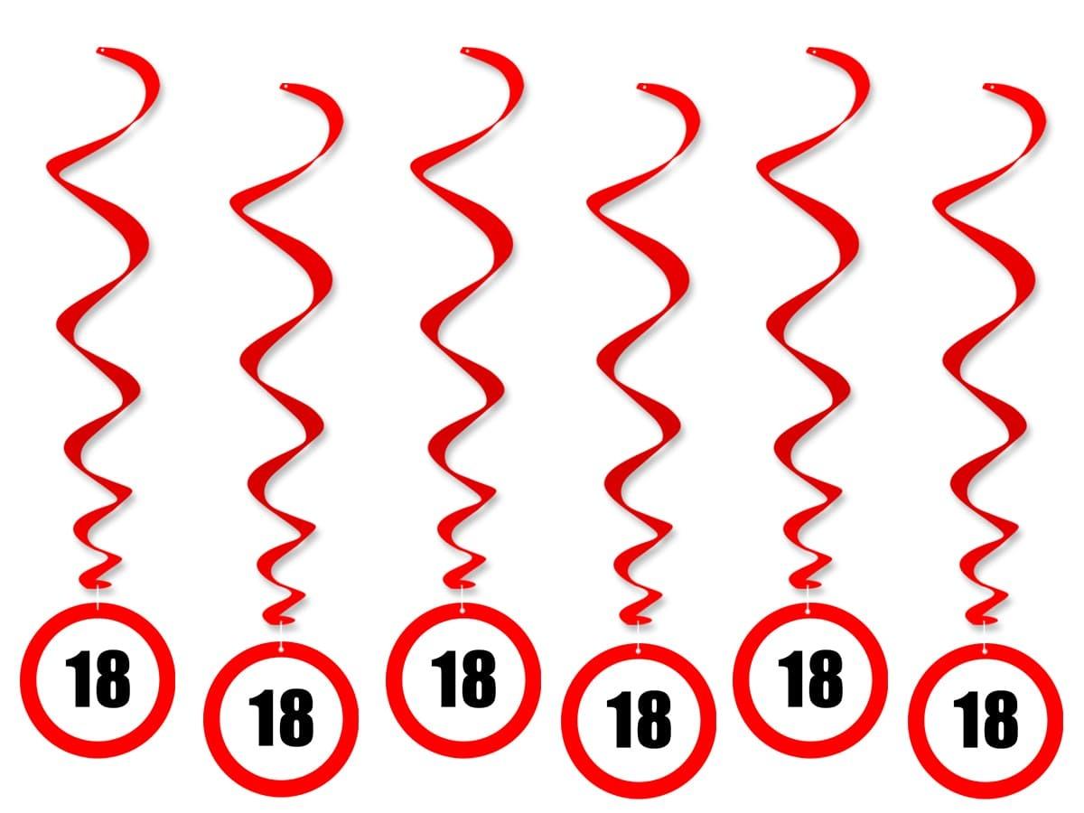 Dekoracja wisząca Zakaz na 18 urodziny - 6 szt.