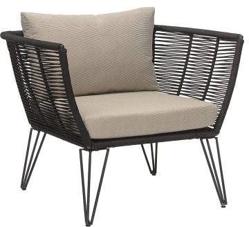 Elegancki fotel ogrodowy czarny beżowa poduszka Mundo