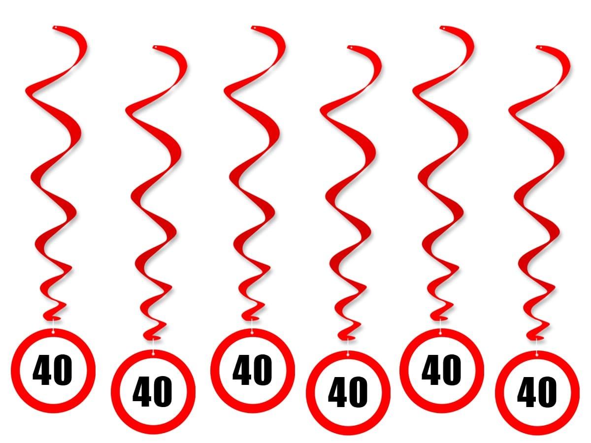 Dekoracja wisząca Zakaz na 40 urodziny - 6 szt.