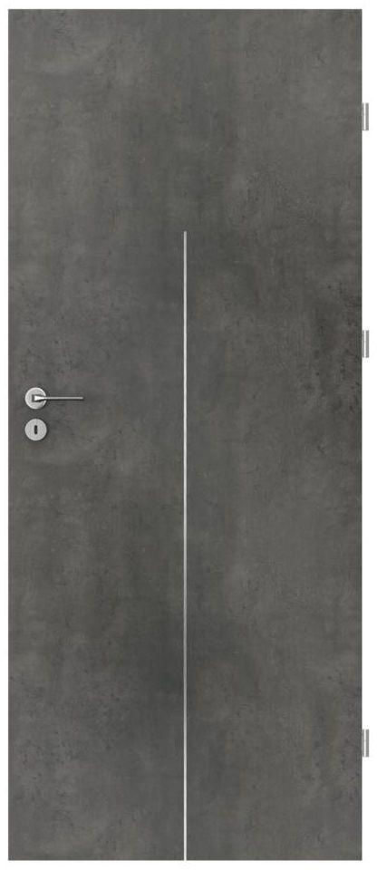 Skrzydło drzwiowe pełne LINE Beton ciemny 90 Prawe PORTA