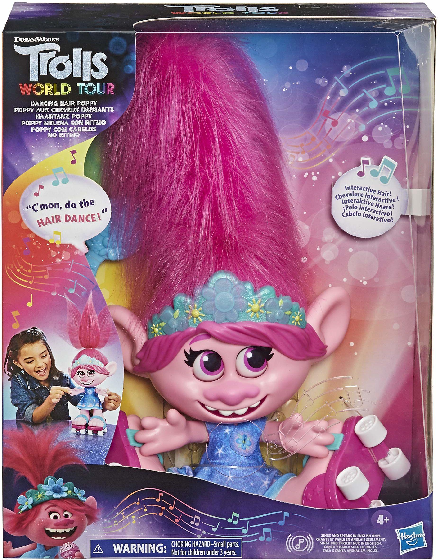 DreamWorks Trolls World Tour Poppy, interaktywna, mówiąca i śpiewająca lalka z ruchomymi włosami, dla dziewczynek i chłopców od 4 lat