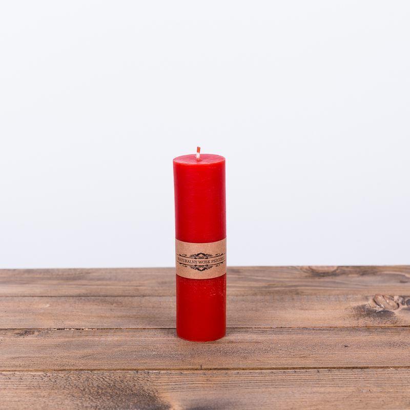 Świeca z wosku pszczelego D 14,5x4cm - czerwona
