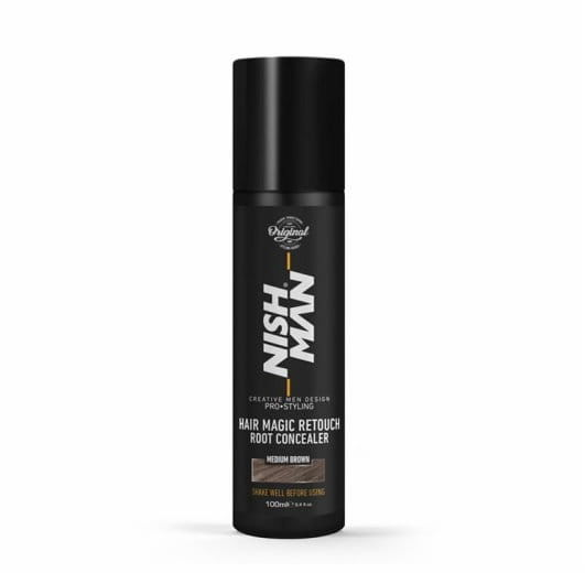 Nishman Hair Magic Retouch Medium Brown spray do siwych włosów 100ml