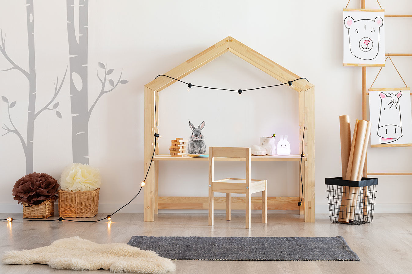 Drewniane biurko dziecięce domek Rosie 2X